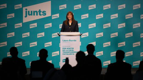 Laura Borrás, de JxCat, este miércoles en una conferencia en Barcelona