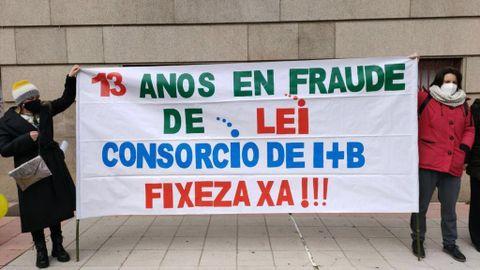 Trabajadoras del Consorcio en una protesta celebrada en Ourense