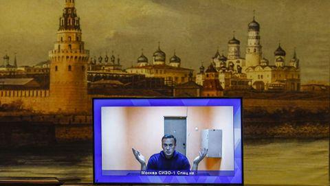 Navalni, en su participación virtual durante la audiencia de apelación este jueves en un tribunal de Moscú