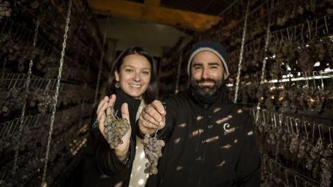 Jorge y Dori con unos racimos de las uvas que tienen en el sequeiro de su bodega