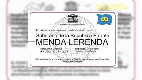 La página web de la República Errante de Menda Lerenda exhibe este documento que acredita a sus miembros como soberanos