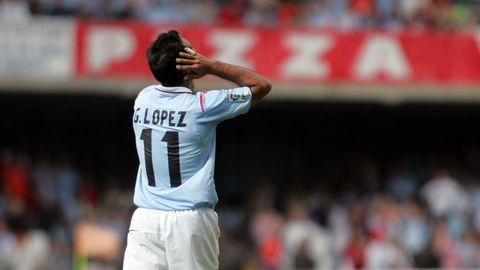 Gustavo López, en su último partido con el Celta