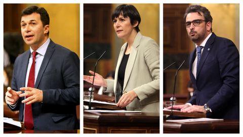 Gonzalo Caballero (PSdeG9, Ana Pontón (BNG) y Diego Calvo (PP), interviniendo en el Congreso