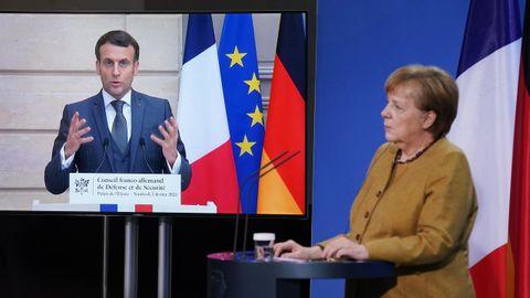 Macron y Merkel, durante su encuentro telemático del viernes