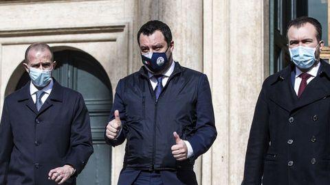 Matteo Salvini sale de la reunión con Draghi en la Cámara de Diputados
