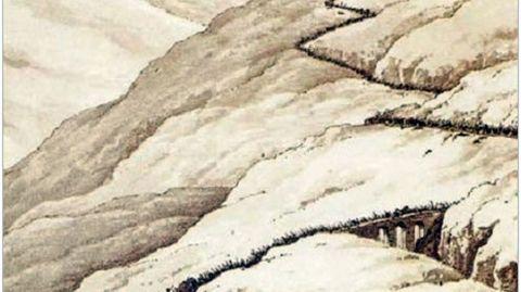 LAMINA DEL SIGLO XIX QUE REPSENTA LA RETIRADA DEL EJÉRCITO INGLES DE JOHN MOORE EN LA GUERRA DE LA INDEPENDENCIA A TRAVES DEL PUENTE DE CRUZUL, EN BECERREA