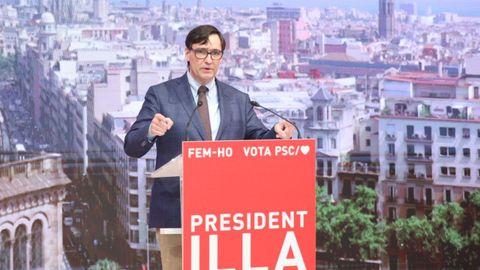 Salvador Illa en un acto de campaña