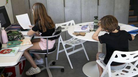 Dos estudiantes de Santiago trabajando en casa durante el confinamiento del 2020