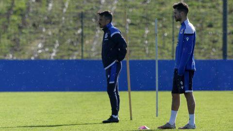 Rubén de la Barrera y Rayco, durante un entrenamiento