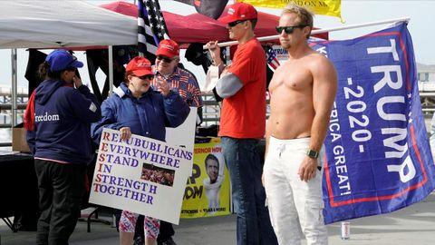 Partidarios de Donald Trump durante un «Patriot Rally» en San Diego (California)