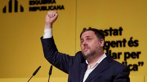 Oriol Junqueras, líder de ERC, en un mitin de la última campaña electoral en Cataluña