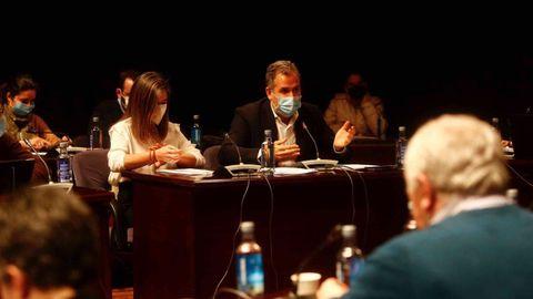 El portavoz municipal del PP, Rafa Domínguez, durante el pleno de  este lunes