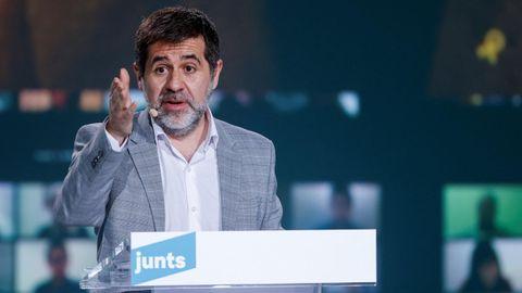 El secretario general de Junts per Catalunya y expresidente de ANC, Jordi Sànchez, interviene en un acto de campaña
