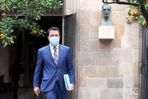 Pere Aragonès, a su llegada a la reunión semanal del Gobierno catalán, la primera tras las elecciones