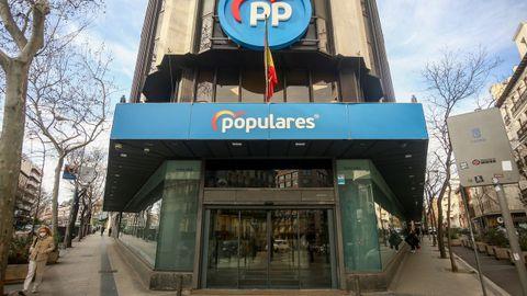 La sede nacional del PP en la calle Génova de Madrid, que el partido abandonará tras llevar instalado en ella desde el año 1982