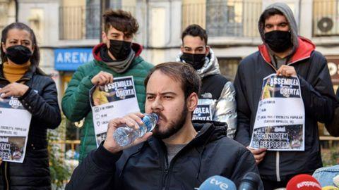 El rapero leridano Pablo Hasel, durante la rueda de prensa que ofreció antes de su ingreso en prisión