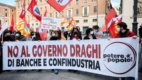 Protesta en las calles de Roma contra el Gobierno de Mario Draghi