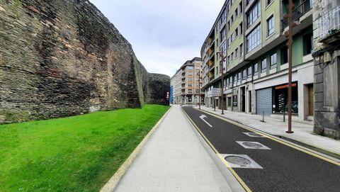 Recreación de como quedará el carril peatonal entre Porta Santiago y Rúa Vilalba