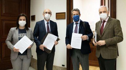 Los diputados del PP de Ourense y de Lugo Ana Vázquez, Celso Rodríguez, Jaime de Olano y Joaquín García Díez con las preguntas al Gobierno