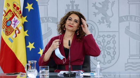 La ministra de Hacienda, María Jesús Montero, en una rueda de prensa tras el Consejo de Ministros