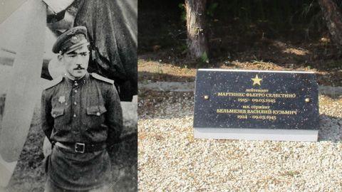 A la izquierda, el teniente asturiano de aviación Celestino Martínez Fierros, junto a su avión soviético a principios de los años 40. A la derecha, la placa conmemorativa con su nombre, el de su artillero y las fechas de nacimiento y muerte.