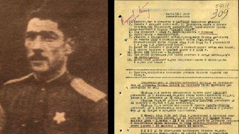 A la izquierda, la foto que figuran en el expediente del piloto asturiano Celestino Martínez. A la derecha, una de las hojas en las que se detallan sus acciones, por las que fue condecorado en 1944, durante la Segunda Guerra Mundial