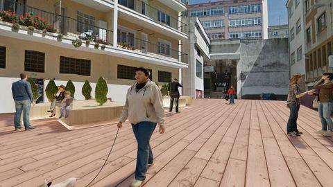 Recreación de como quedará la Rúa Esquecemento de Lugo
