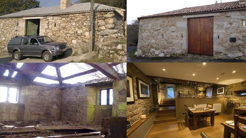 El antes y el después de una vivienda reformada en Palas de Rei, que ahora es una casa de turismo rural