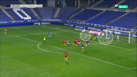Defensa del balón parado. 1-Lucas, en zona. 2-Grippo y Rodri, en zona. 3-Sangalli pendiente de la corta. 4-Nahuel pendiente del rechace