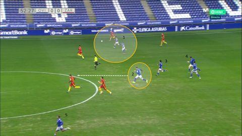 Segundos previos al gol de Rodri. 1-Francés, con balón, perseguido por Christian y Rodri. 2-Grippo, que acaba interceptando el pase de Francés. 3-Javi Mier. 4-Edgar. 5-Nahuel, lanzador del córner