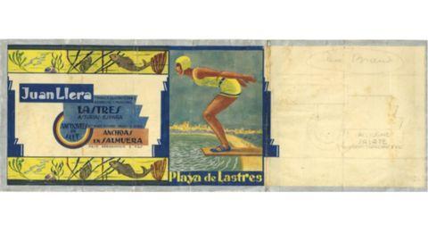 Boceto para cuerpo de lata de anchoas en salmuera de conservas Playa de Lastres, Juan Llera