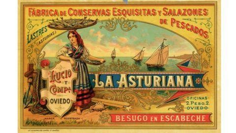 Etiqueta para lata de besugo en escabeche de conservas La Asturiana
