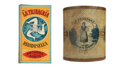 Estuche para lata de anchoas en aceite de conservas La Trinacria y cuerpo de lata de anchoas en salmuera de conservas La Praviana