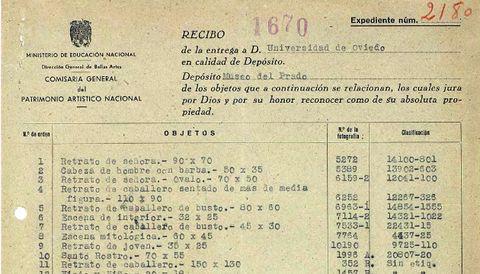 Detalle del acta de entrega de obras en depósito tras la Guerra Civil a la Universidad de Oviedo, realizada en 1941 por las autoridades franquistas