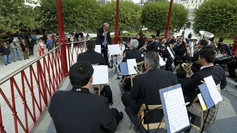 Uno de los últimos conciertos de la Banda Municipal de Lugo en el templete de la Praza Maior
