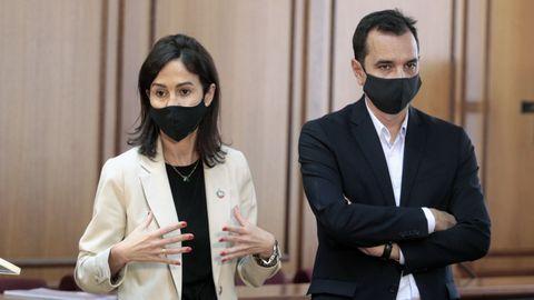 La presidenta de Adif, Isabel Pardo de Vera, y el secretario general de Infraestructuras, Sergio Vázquez Torrón,  en Monforte