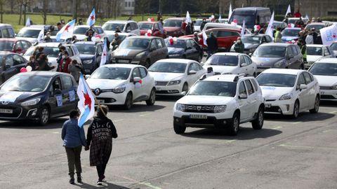 Imagen de la protesta del BNG contra los peajes, en Santiago