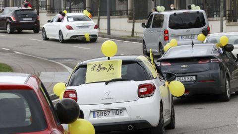 Caravana de protesta de la Plataforma de Trabajadores Públicos Temporales en Fraude de Ley