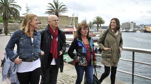 Paloma Rodríguez participando en abril del 2015 en una visita a Ferrol del diputado socialista y alcalde de San Sebastián, Odón Elorza, junto a Beatriz Sestayo y María Fernández Lemos