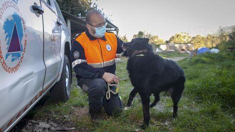 Ricardo Vara, responsable de la agrupación, con el perro que piensan adoptar