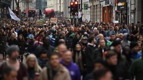 Protestas en Londres por las restricciones en el Reino Unido