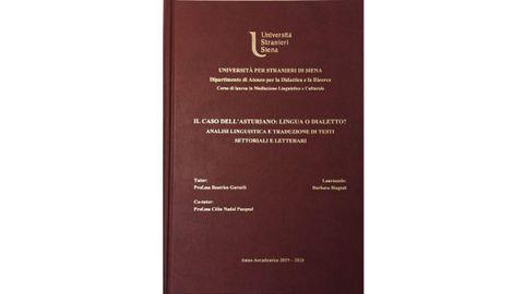 Portada de la tesis de la italiana Barbara Biagioli sobre la llingua asturiana
