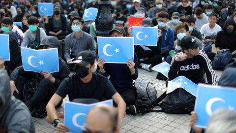 Manifestación en Hong Kong, en diciembre del 2019, en apoyo de la minoría musulmana uigur en la región china de Xinjiang
