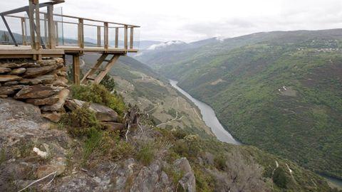 Vista de los viñedos de la ribera de Vilachá de Salvadur desde el mirador de A Capela