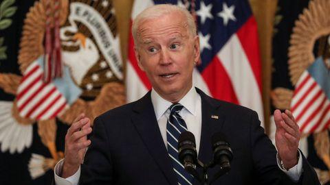 Biden, durante la primera rueda de prensa de su presidencia