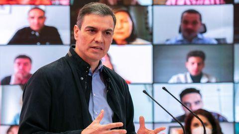 Pedro Sánchez, el sábado durante la presentación de Ángel Gabilondo como candidato socialista a la presidencia de la Comunidad de Madrid