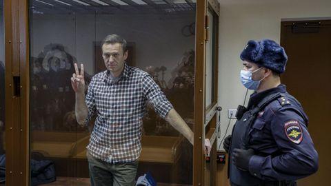 Navalni, durante su juicio en un tribunal de Moscú el pasado febrero
