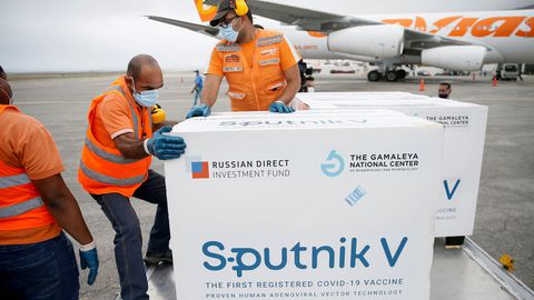 Viales de la vacuna rusa Sputnik V en Caracas, Venezuela