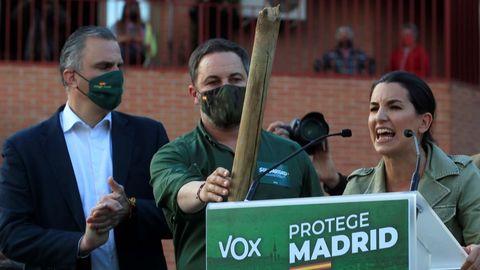 La candidata de Vox, Rocío Monasterio, durante el acto electoral en el que intervino junto a Santiago Abascal y Javier Ortega Smith