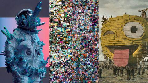 Dos detalles y vista central del collage NFT del artista Beeple subastado por Christie's por más de 60 millones